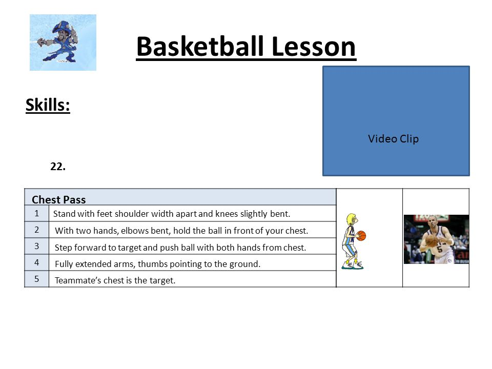 Basketball Lesson Skills: Video Clip 22. Chest Pass 1 2 3 4 5