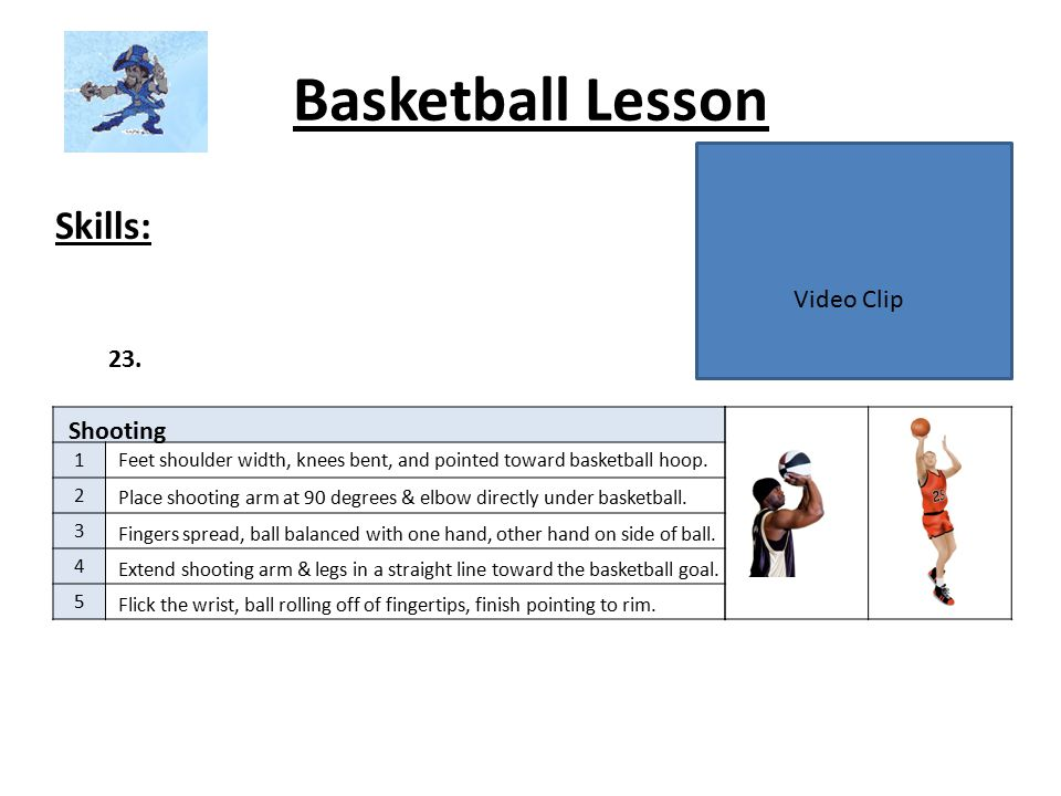 Basketball Lesson Skills: Video Clip 23. Shooting 1 2 3 4 5