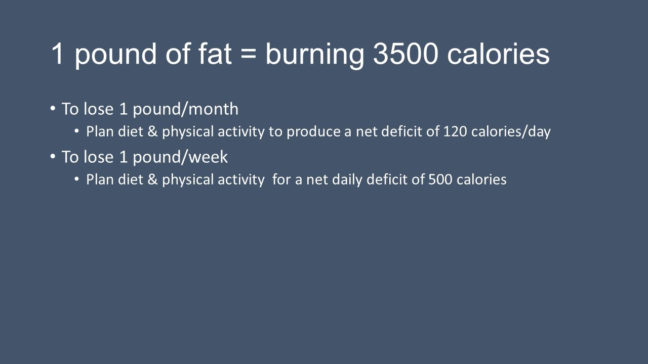 1 pound of fat = burning 3500 calories