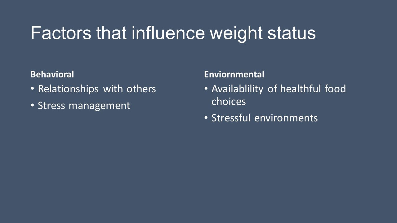 Factors that influence weight status