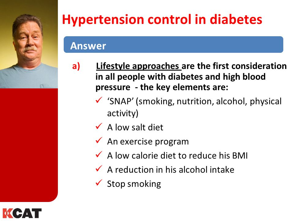 Hypertension control in diabetes