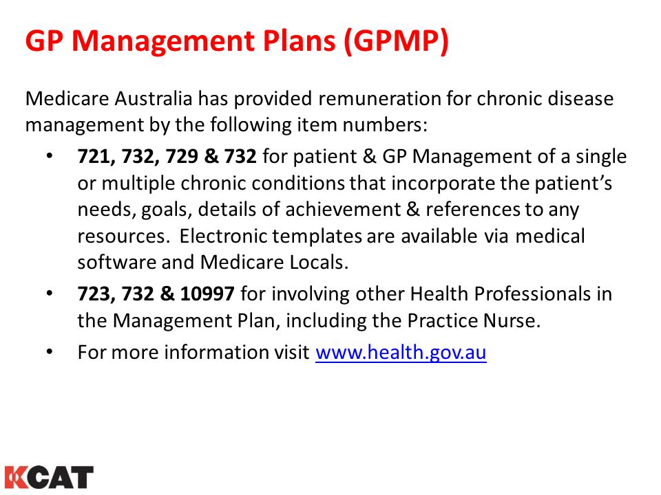 GP Management Plans (GPMP)