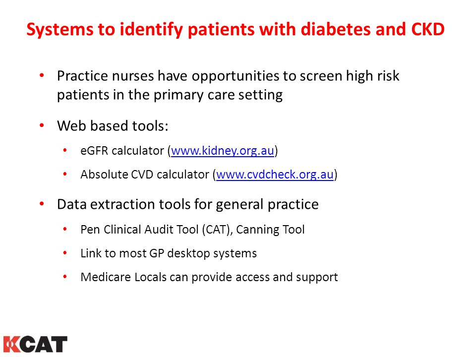 Systems to identify patients with diabetes and CKD