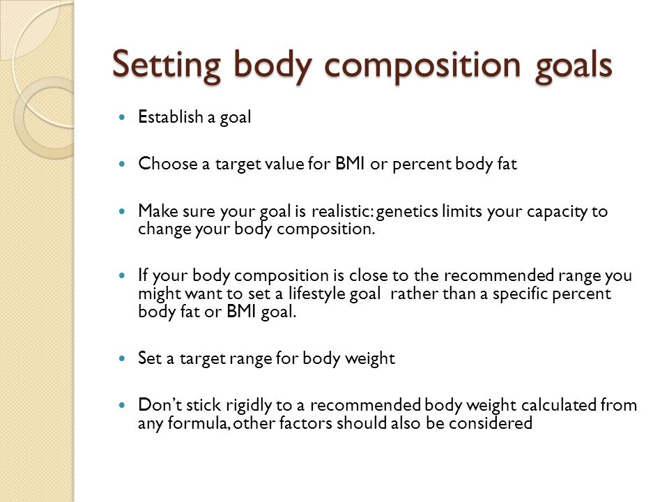 Setting body composition goals