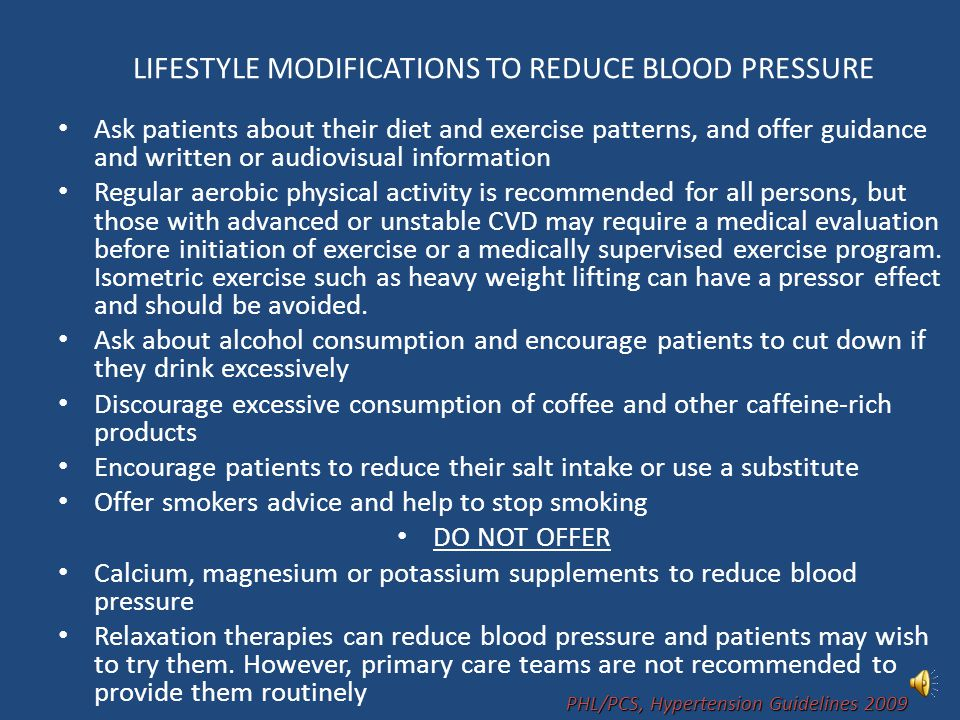 LIFESTYLE MODIFICATIONS TO REDUCE BLOOD PRESSURE