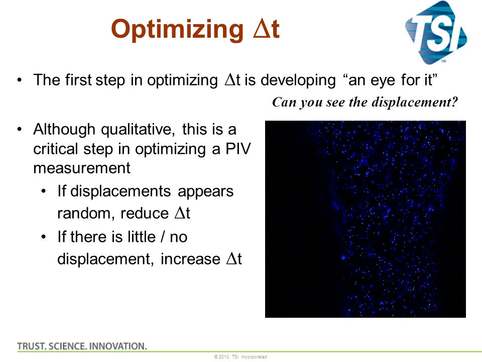 Optimizing Dt The first step in optimizing Dt is developing an eye for it Can you see the displacement