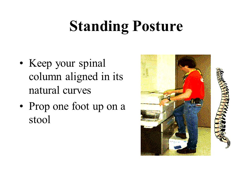 Standing Posture Keep your spinal column aligned in its natural curves