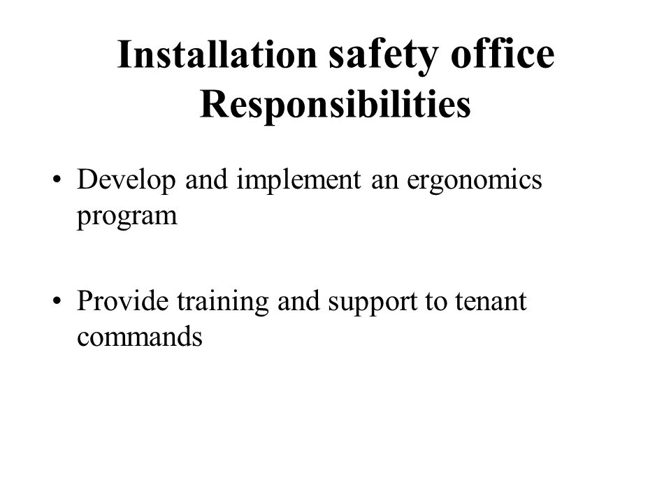 Installation safety office Responsibilities