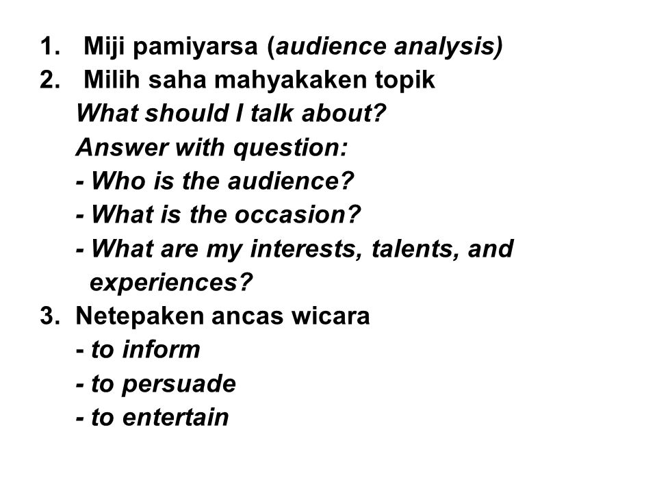 Miji pamiyarsa (audience analysis)