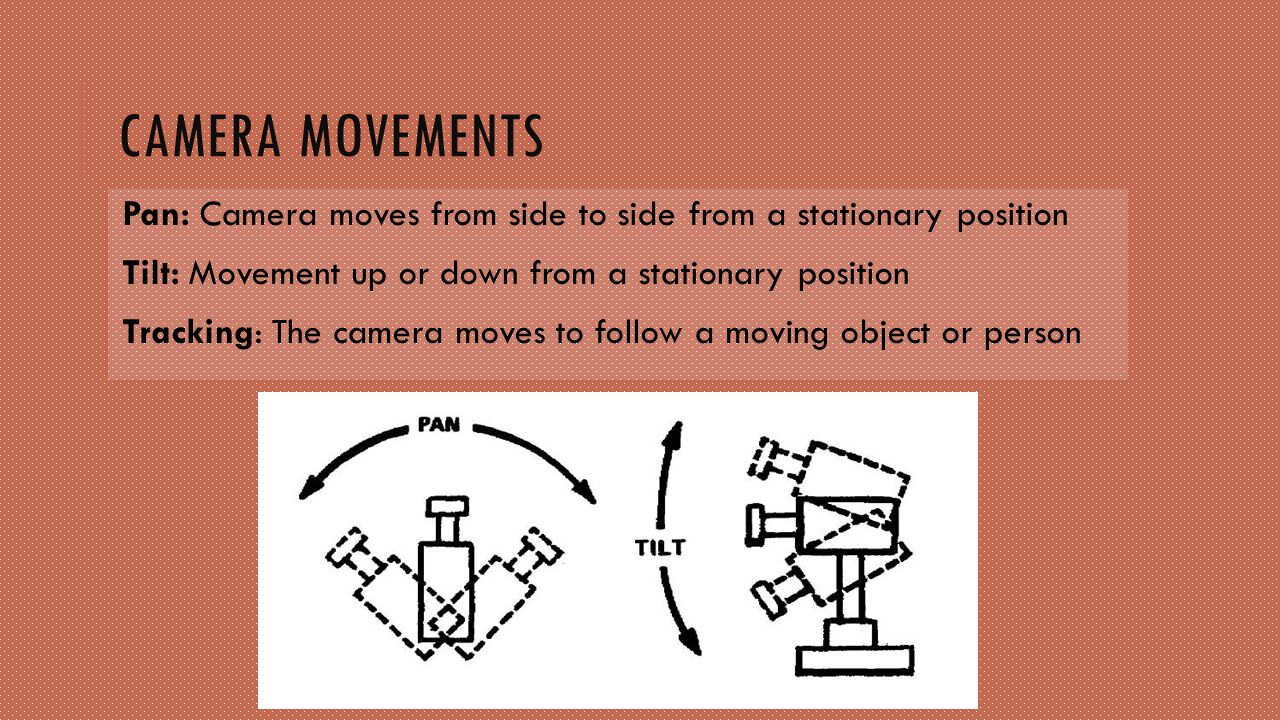 Camera movements Pan: Camera moves from side to side from a stationary position. Tilt: Movement up or down from a stationary position.