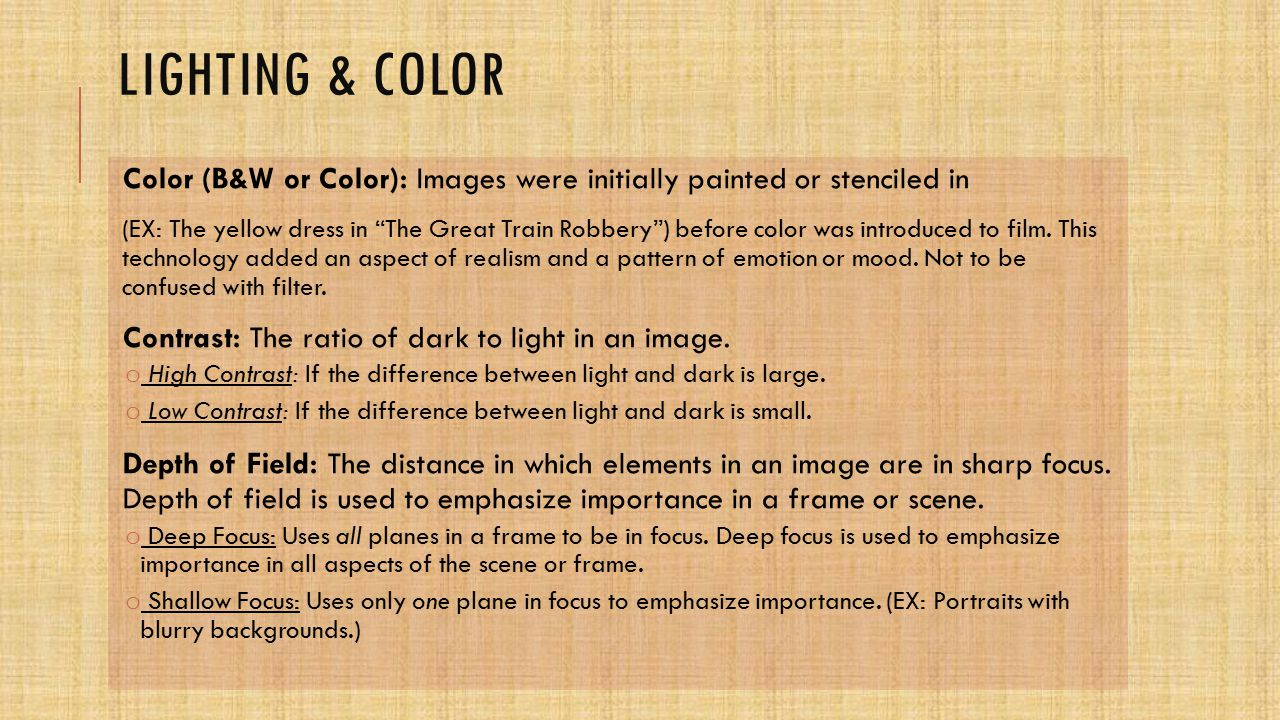 Lighting & color Color (B&W or Color): Images were initially painted or stenciled in.