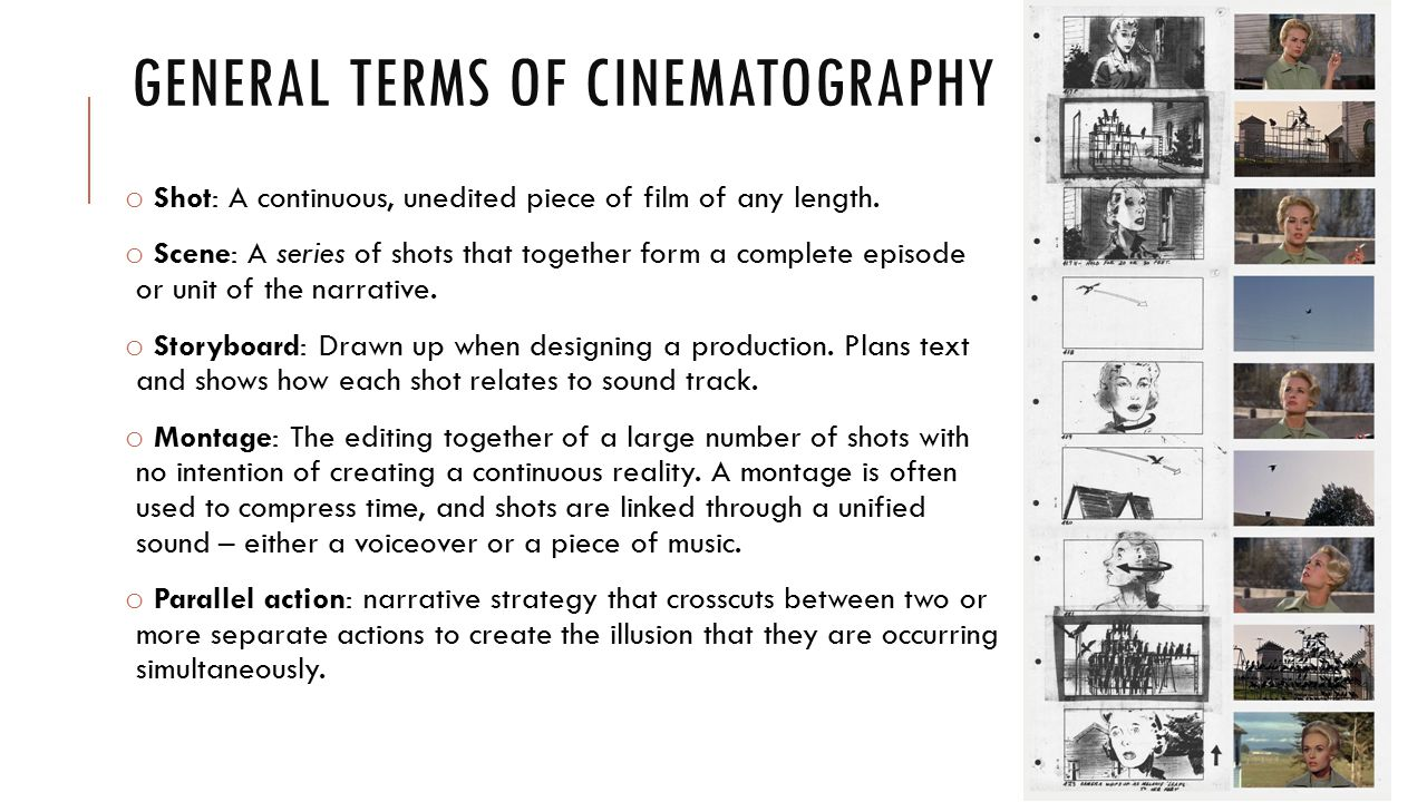 General terms of cinematography