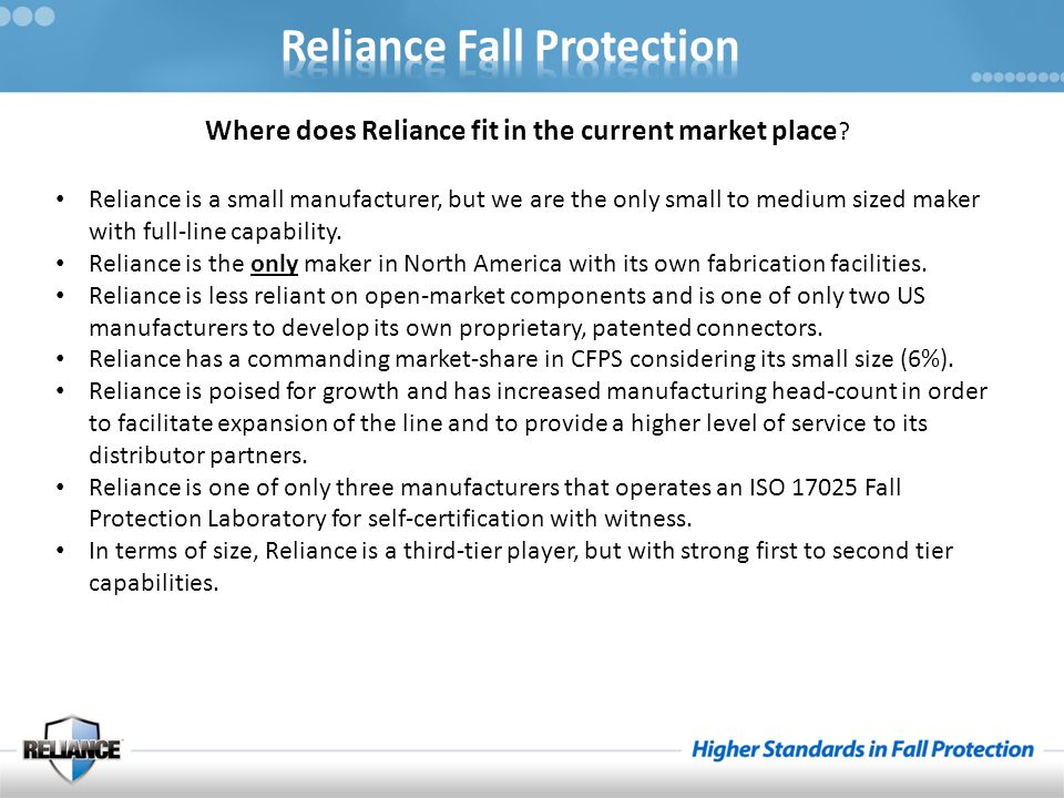 Where does Reliance fit in the current market place