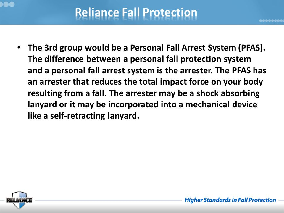 The 3rd group would be a Personal Fall Arrest System (PFAS)