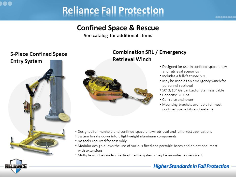 Confined Space & Rescue See catalog for additional items