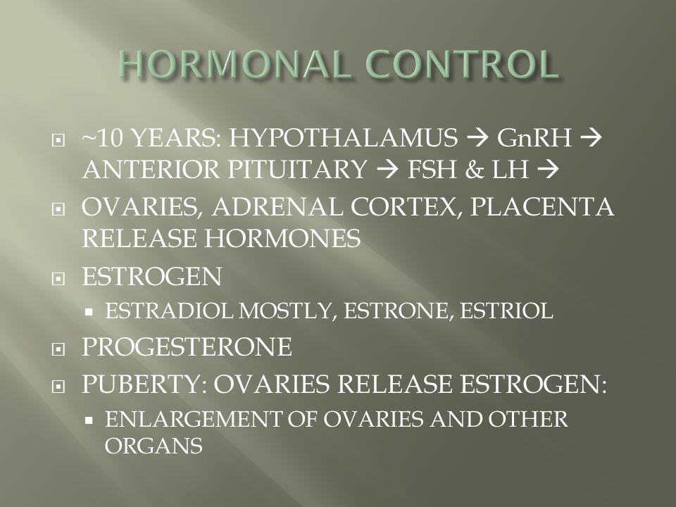 HORMONAL CONTROL ~10 YEARS: HYPOTHALAMUS  GnRH  ANTERIOR PITUITARY  FSH & LH  OVARIES, ADRENAL CORTEX, PLACENTA RELEASE HORMONES.