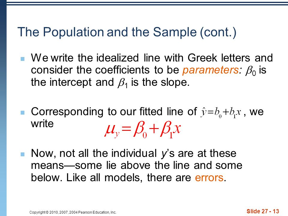 The Population and the Sample (cont.)