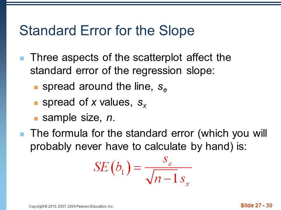 Standard Error for the Slope