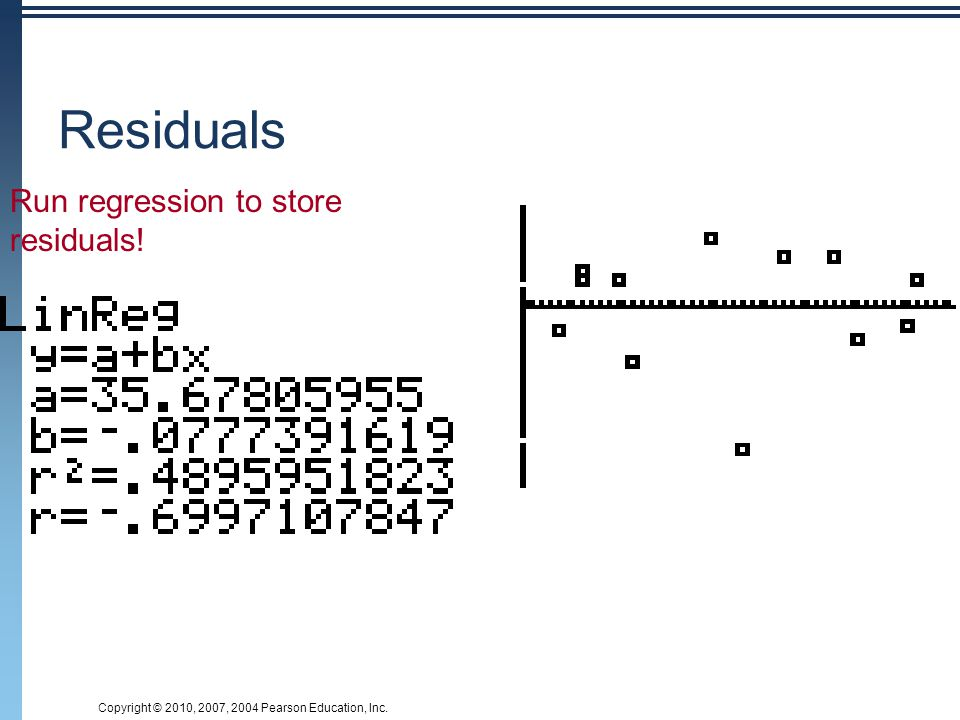 Residuals Run regression to store residuals!