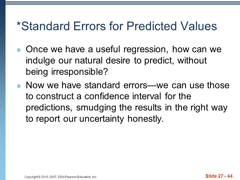 *Standard Errors for Predicted Values