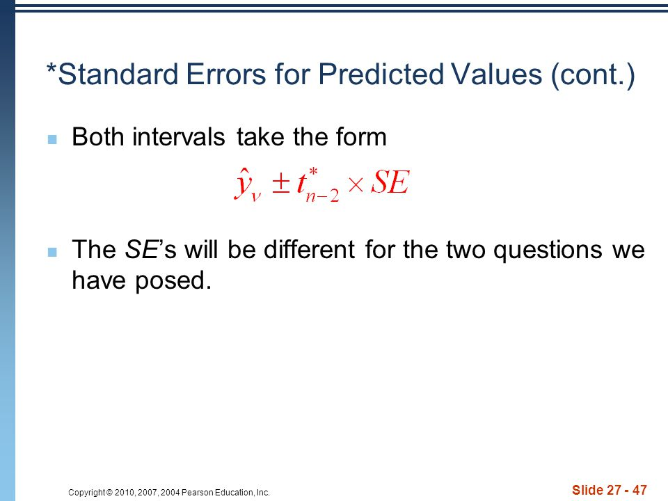 *Standard Errors for Predicted Values (cont.)