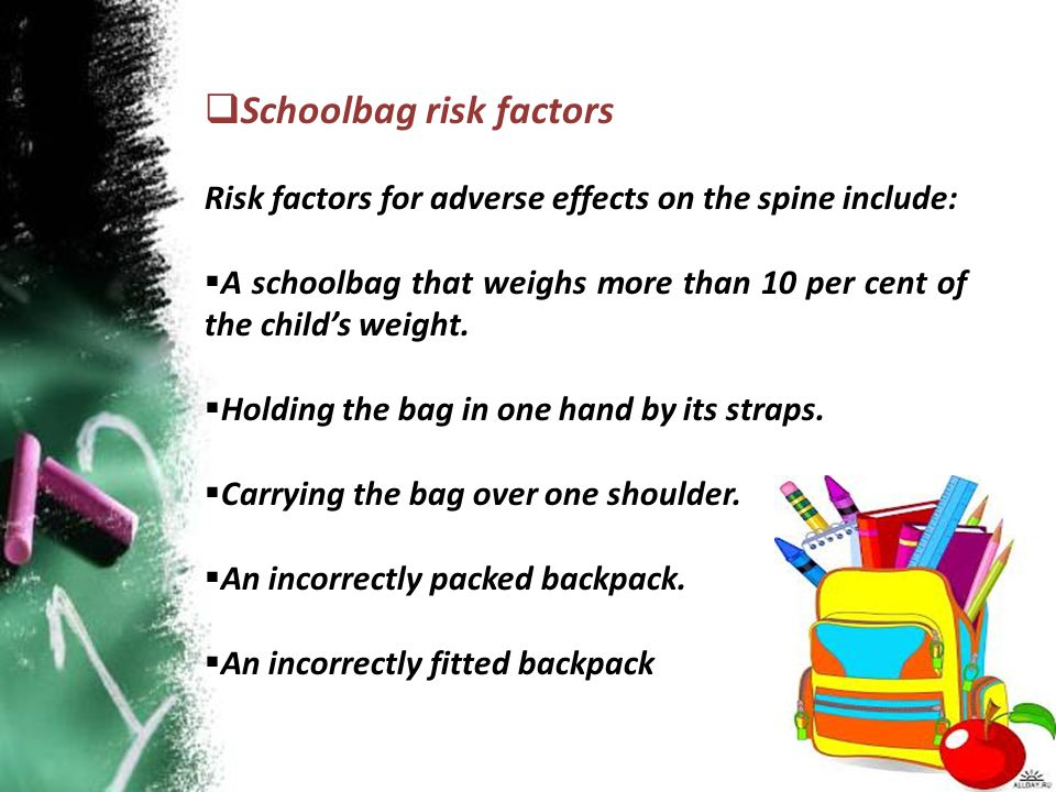Schoolbag risk factors