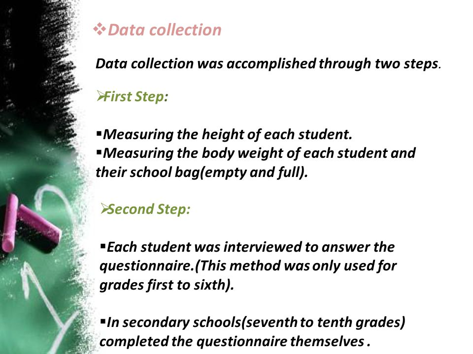 Data collection Data collection was accomplished through two steps.