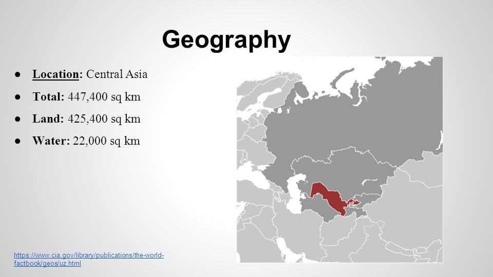 Geography Location: Central Asia Total: 447,400 sq km