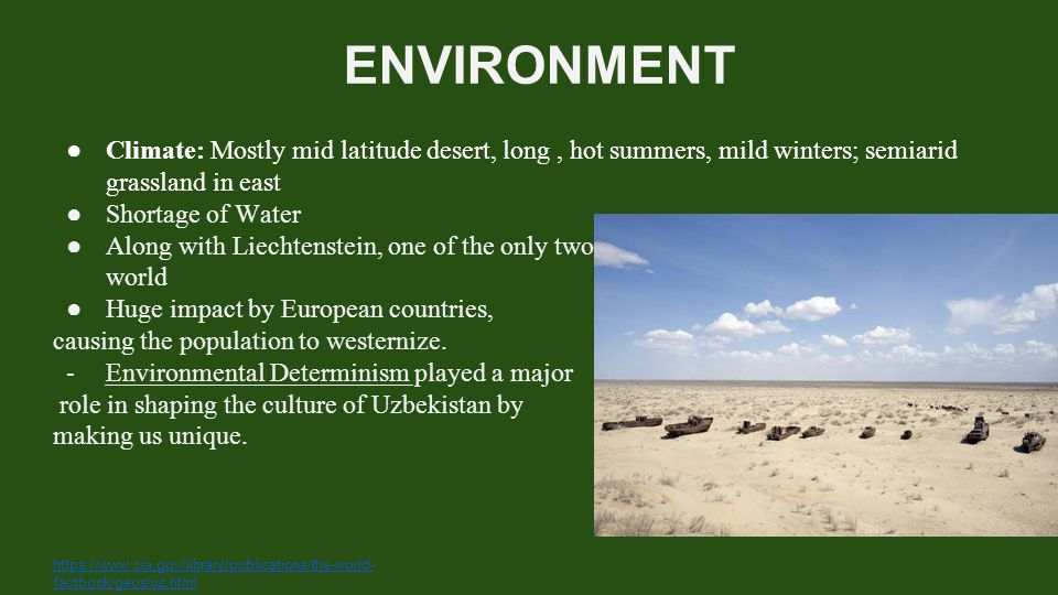ENVIRONMENT Climate: Mostly mid latitude desert, long , hot summers, mild winters; semiarid grassland in east.
