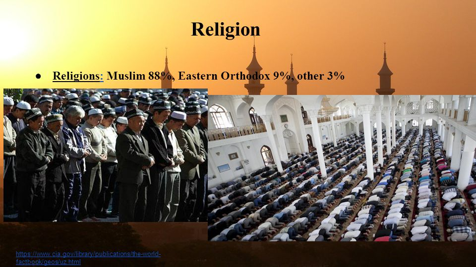 Religion Religions: Muslim 88%, Eastern Orthodox 9%, other 3%
