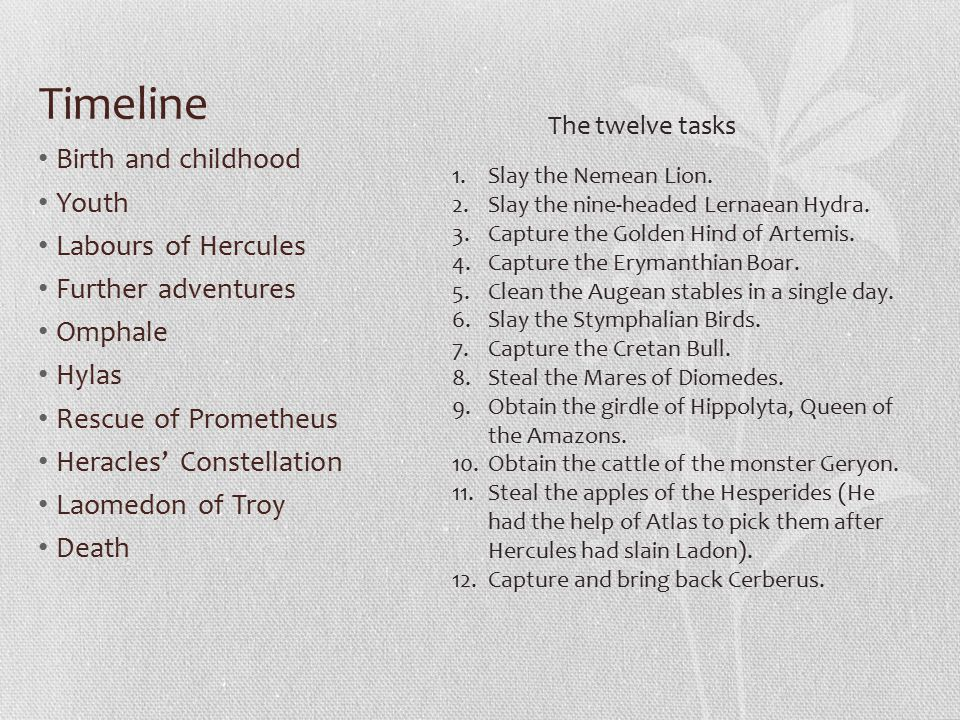 Timeline Birth and childhood Youth Labours of Hercules