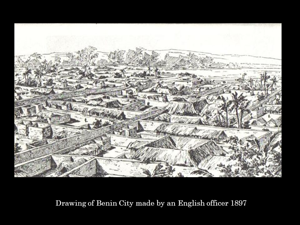 Drawing of Benin City made by an English officer 1897