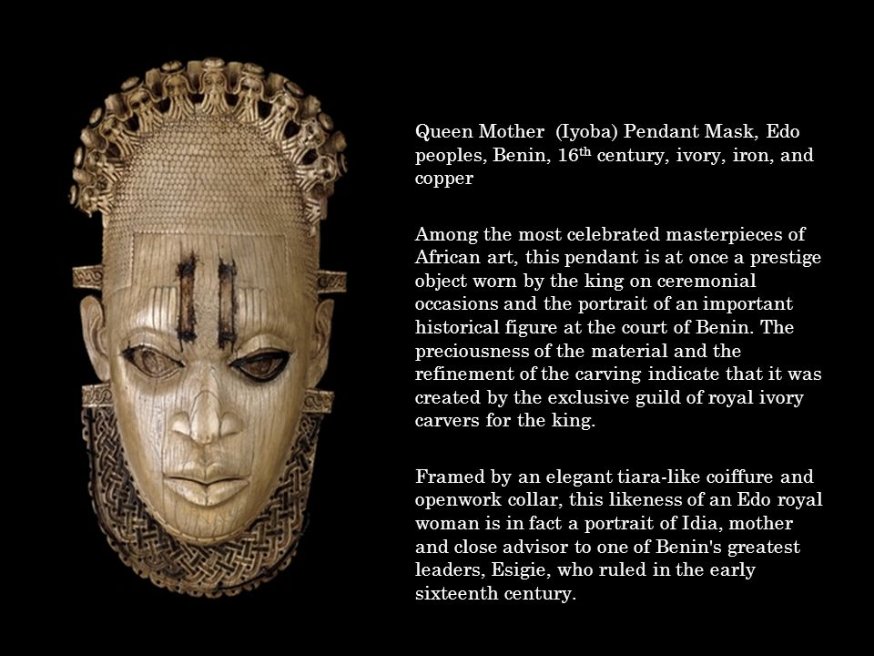 Queen Mother (Iyoba) Pendant Mask, Edo peoples, Benin, 16th century, ivory, iron, and copper