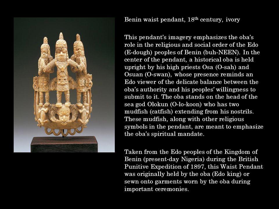 Benin waist pendant, 18th century, ivory