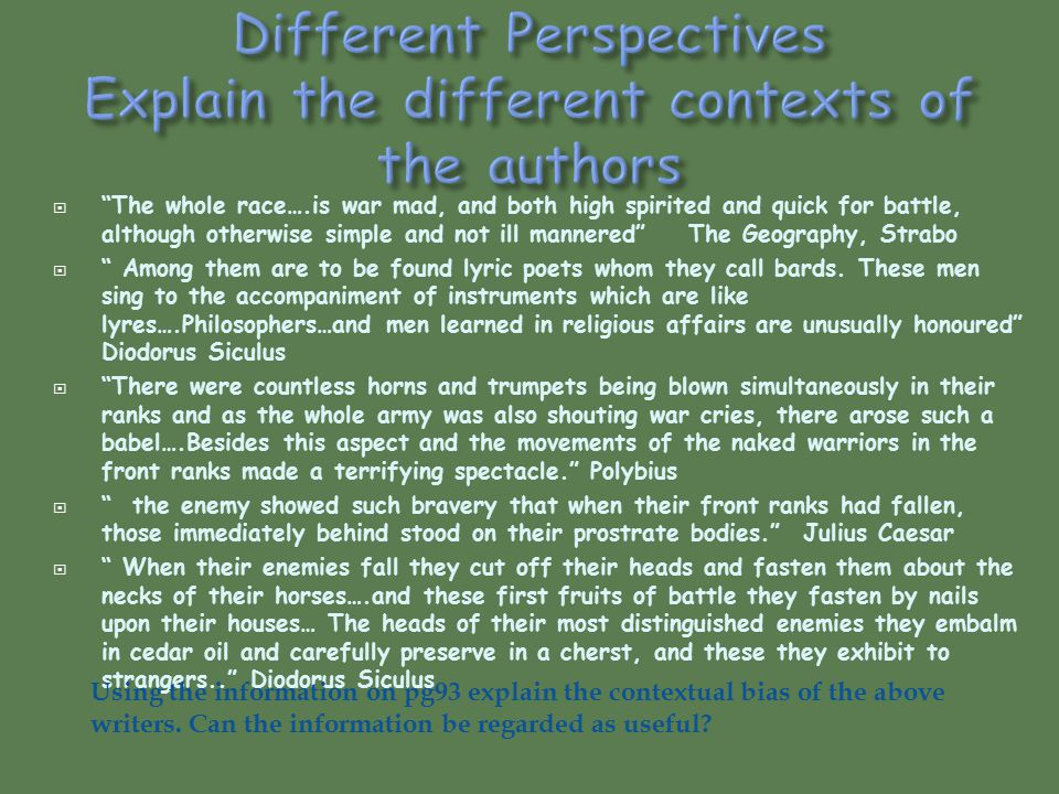 Different Perspectives Explain the different contexts of the authors