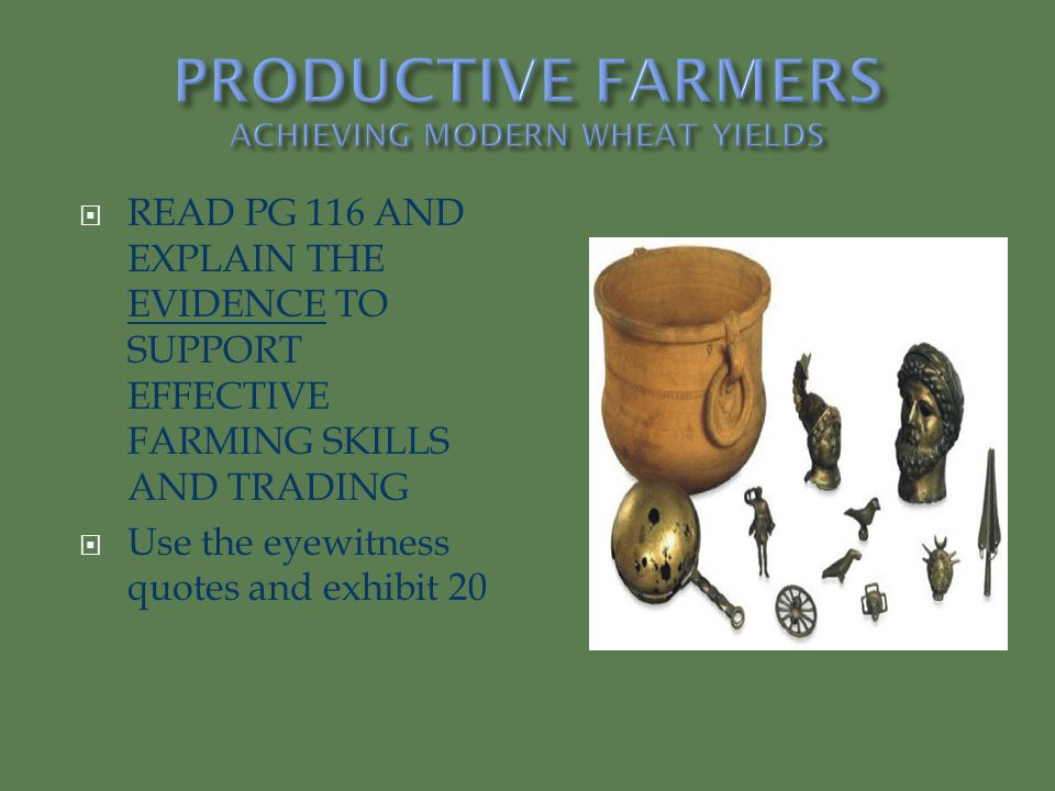 PRODUCTIVE FARMERS ACHIEVING MODERN WHEAT YIELDS