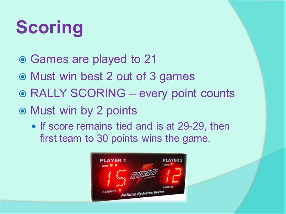 Scoring Games are played to 21 Must win best 2 out of 3 games