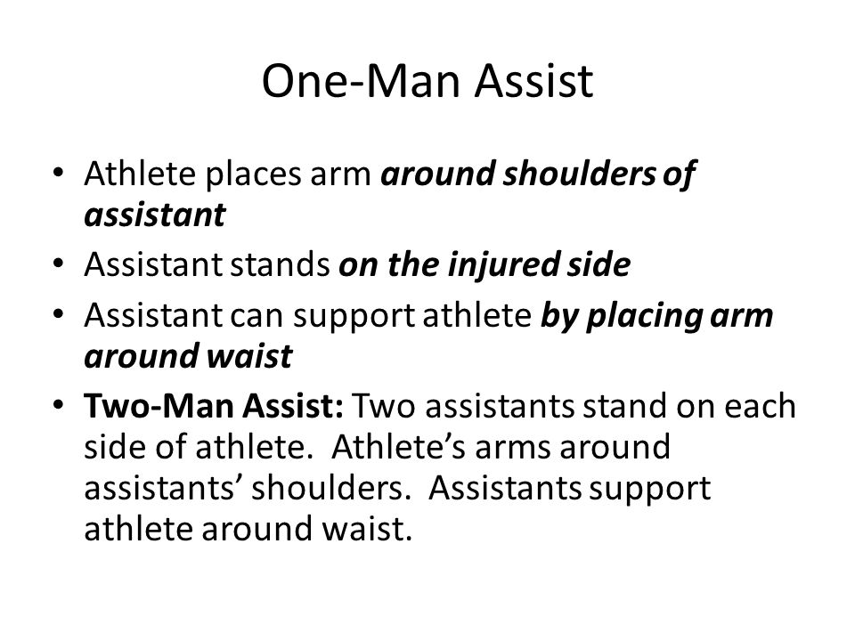 One-Man Assist Athlete places arm around shoulders of assistant