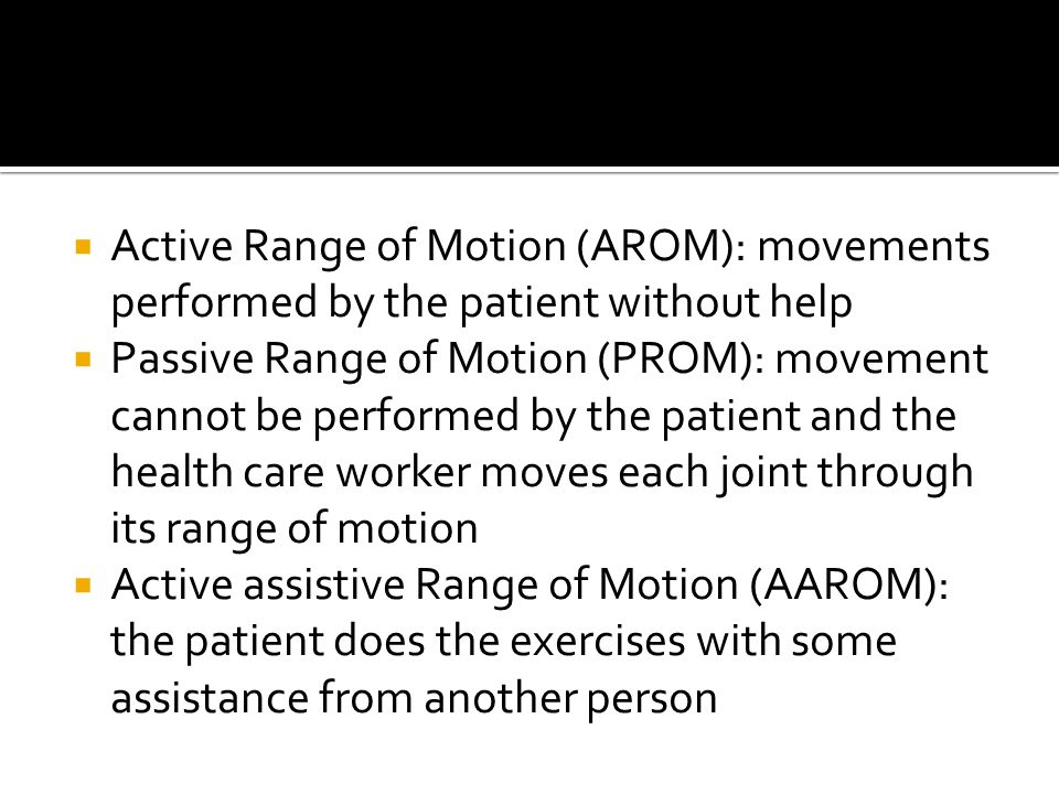 Active Range of Motion (AROM): movements performed by the patient without help