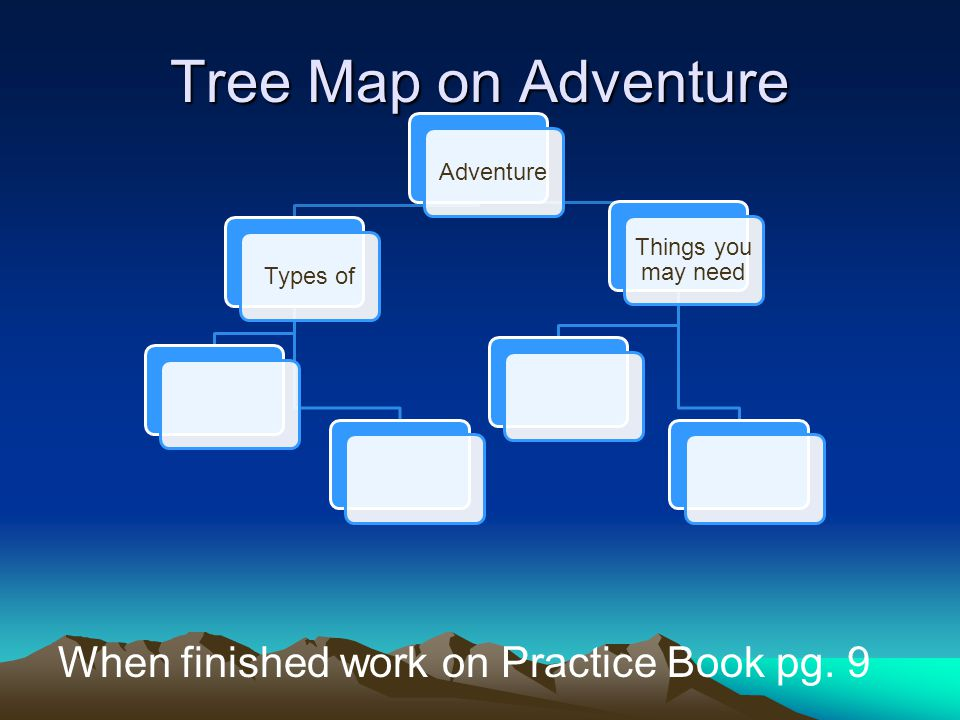 Tree Map on Adventure When finished work on Practice Book pg. 9