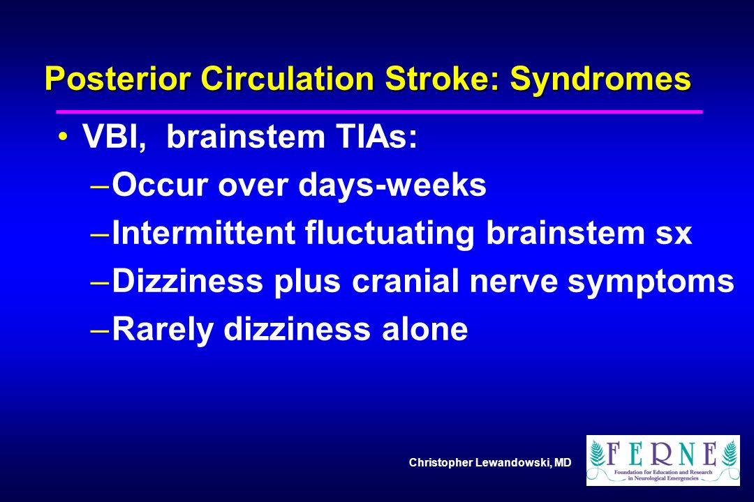Posterior Circulation Stroke: Syndromes