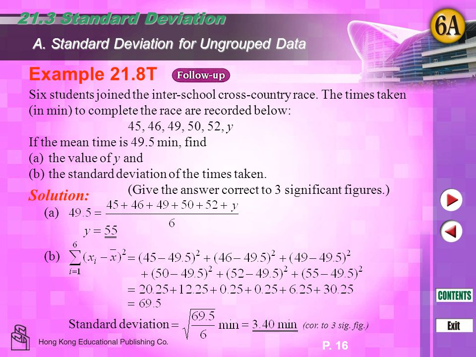 Example 21.8T 21.3 Standard Deviation Solution: