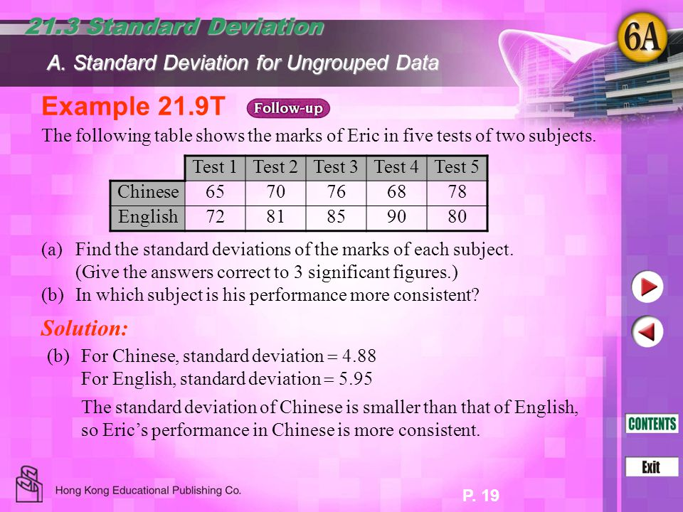 Example 21.9T 21.3 Standard Deviation Solution: