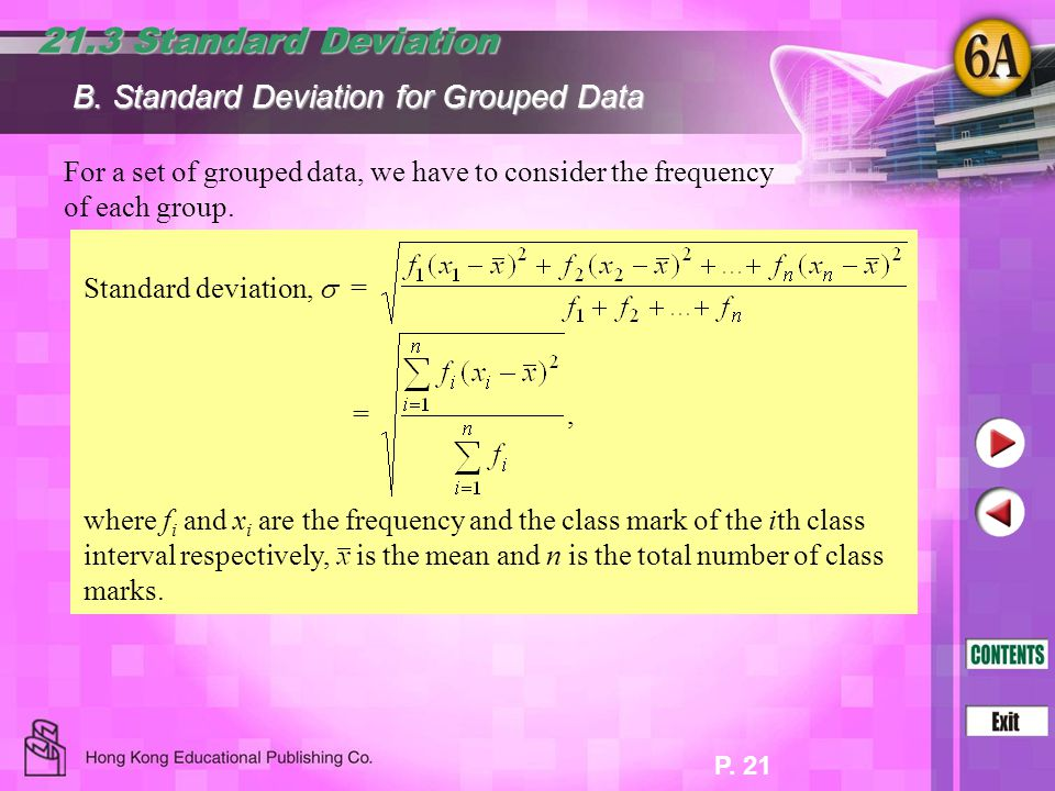 21.3 Standard Deviation B. Standard Deviation for Grouped Data