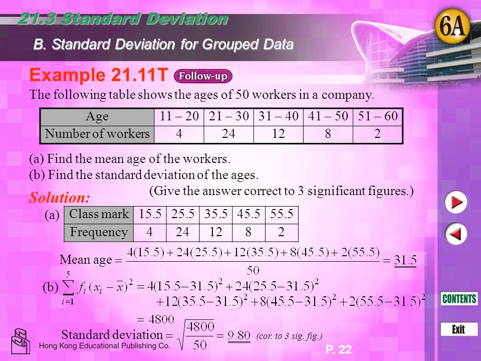 Example 21.11T 21.3 Standard Deviation Solution: