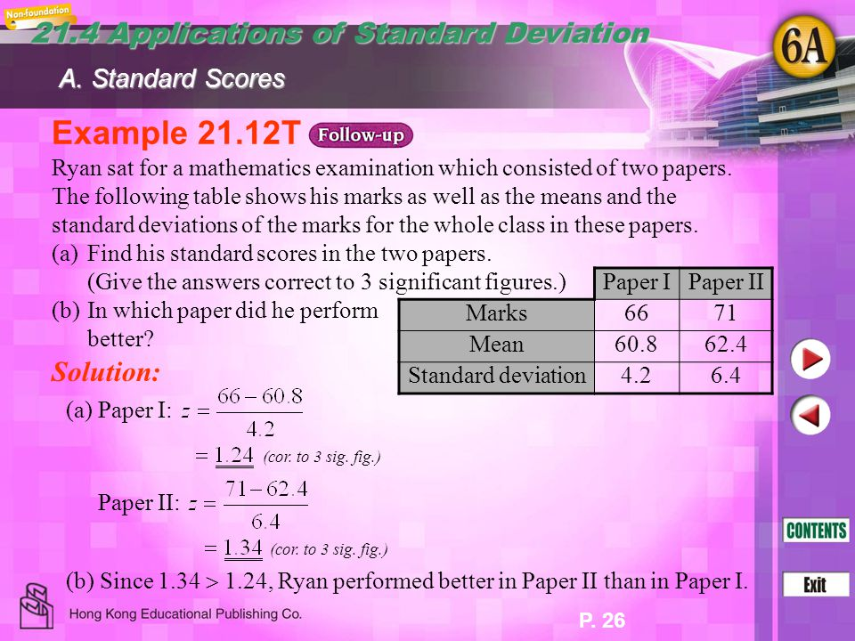 Example 21.12T 21.4 Applications of Standard Deviation Solution: