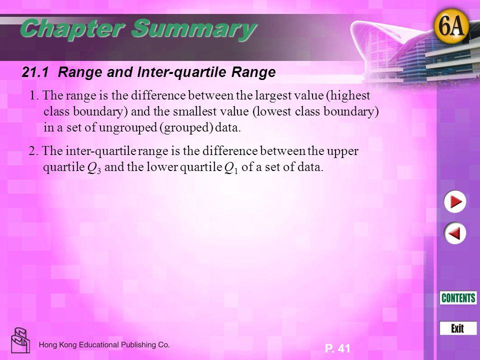 Chapter Summary 21.1 Range and Inter-quartile Range