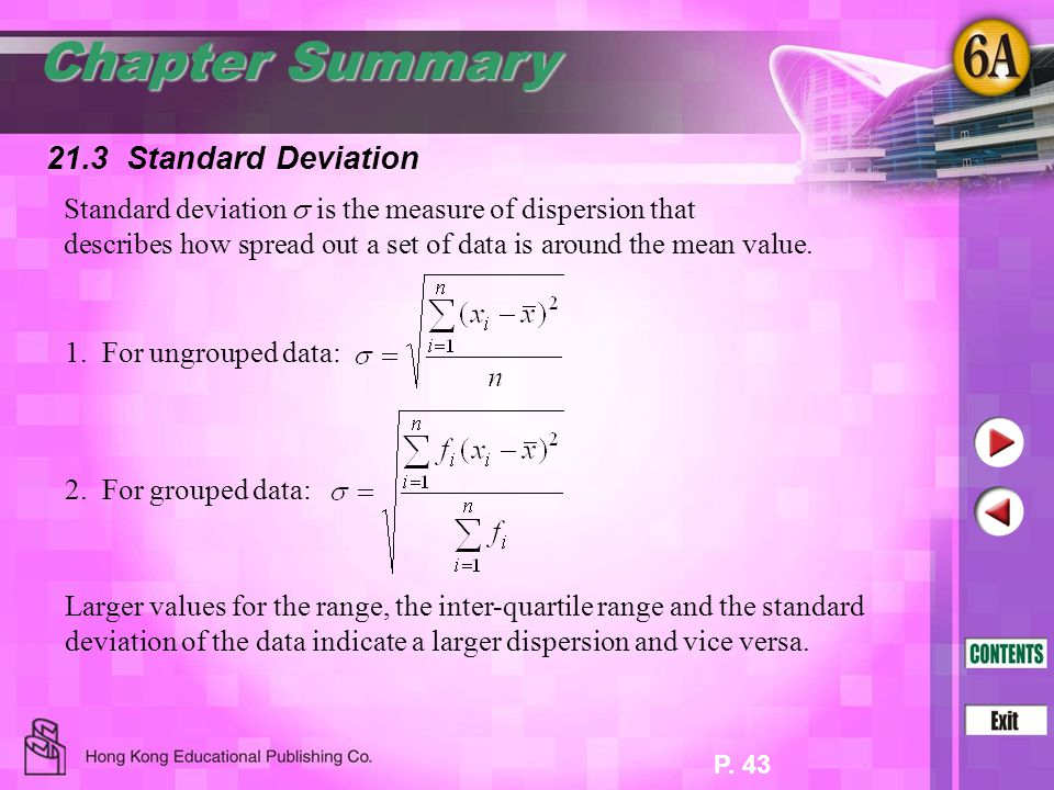 Chapter Summary 21.3 Standard Deviation