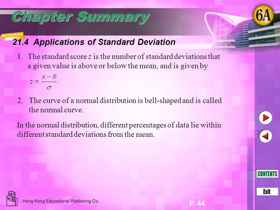 Chapter Summary 21.4 Applications of Standard Deviation