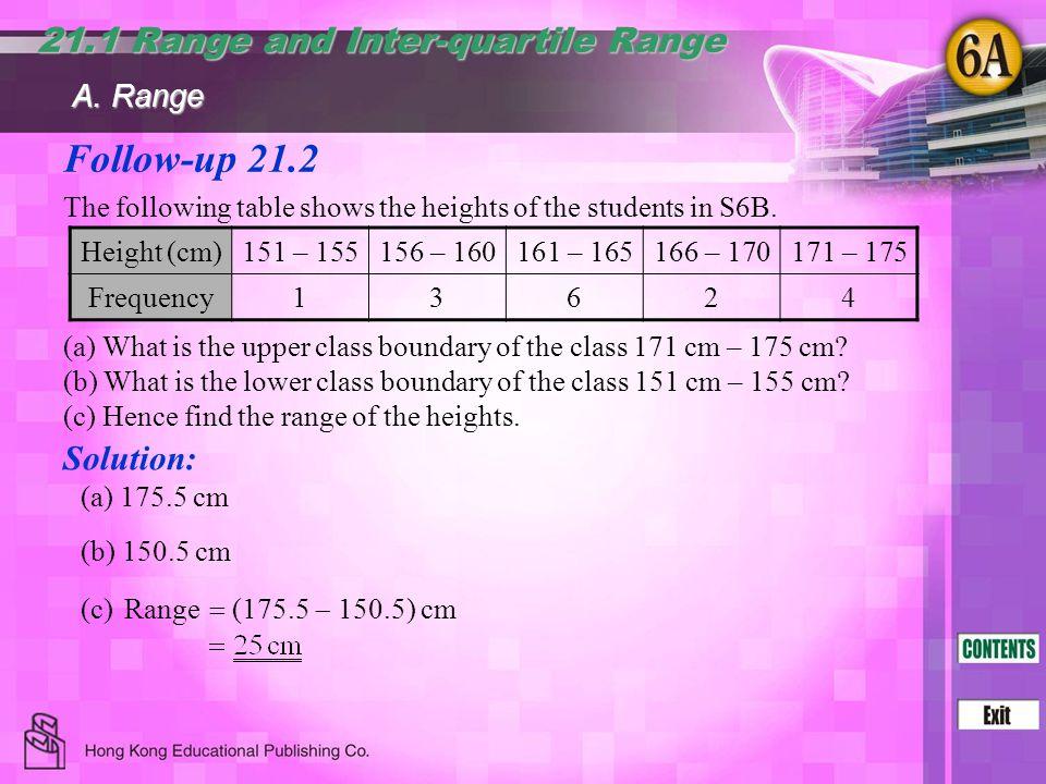 Follow-up 21.2 21.1 Range and Inter-quartile Range Solution: A. Range